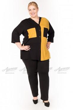 Блузка BL04603BLK51 черный/горчица