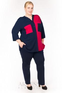 Блузка BL04603DBL29 синий/красный