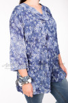 Блузка BL04704PUR02 синий/цветы