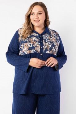 Блузка BL10308CUC06 синий/узор