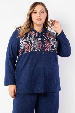 Блузка BL10308GRA06 синий/абстракция