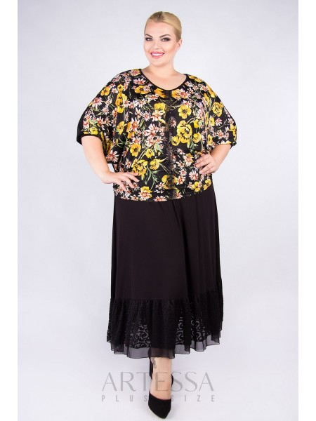 Блузка BL36907BLK48 черный/цветы
