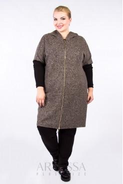 Пальто PL10121MEL20 коричневый меланж