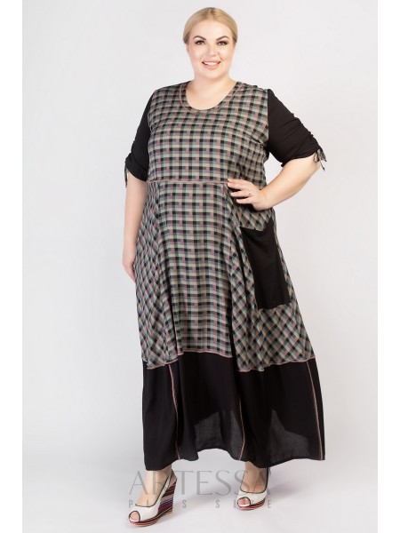 Платье PP30504SQU01 черный/клетка