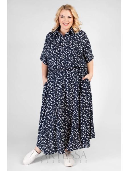 Платье PP60004FLW05 синий/белый