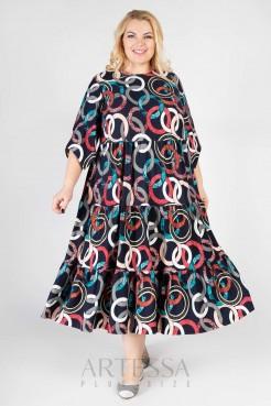 Платье PP62607GEA05 синий/геометрия
