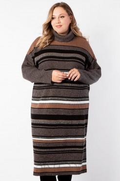 Платье PP90128STR20 коричневый/полоска