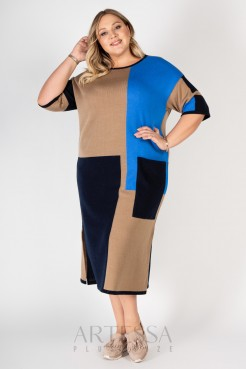 Платье PP90532GEN19 бежевый/голубой