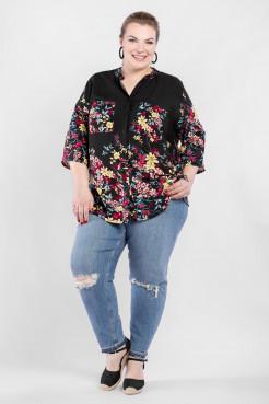 Блузка  BL04604FLA01 (черный/цветы)