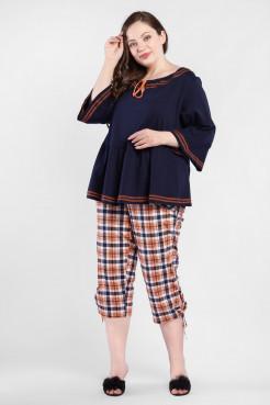Блузка BL55601DBL05 синий/оранжевый