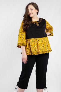 Блузка BL55601DRO51 черный/желтый/горох