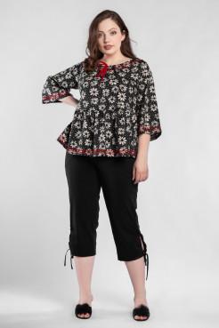 Блузка  BL55601ROM01 черный/красный/цветы