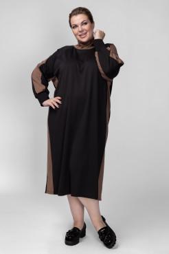 Платье PP08006BLH01 черный/капучино
