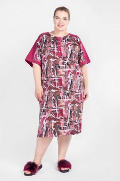 Платье PP50001GRA36 темно-розовый абстракция