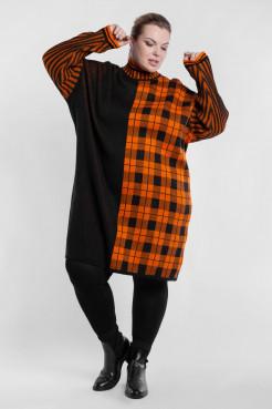 Платье PP90767SQU52 оранжевый/черный