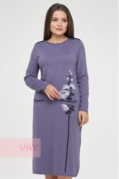 Платье 182-2368 черничный щербет/т.синий/пыльная лаванда