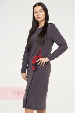 Платье 182-2368 графит/черный/алый