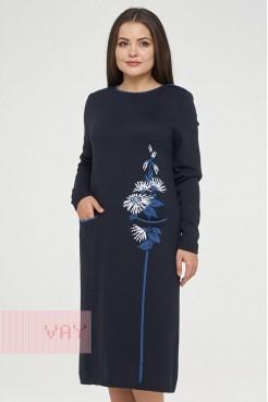 Платье 182-2368 т.синий/деним/белый