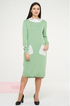 Платье 182-2369 мятный аромат/пайетки молоко