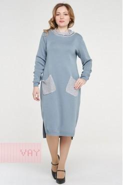 Платье 182-2369 серо-голубой/пайетки серый