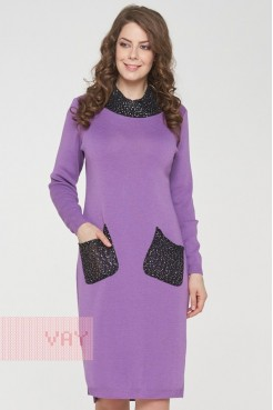 Платье 182-2369 виола/пайетки черный