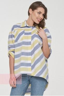 Блузка 191-3478 джинсовый/желтый