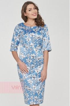Платье 191-3502 лилия стальной-голубой