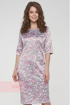 Платье 191-3502 пионы молоко