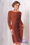 Платье 2088 морковный/шоколад
