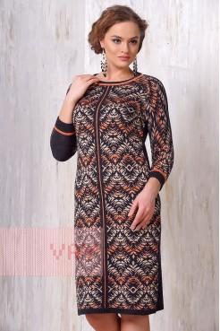 Платье 2134 т.серый/терракот/полынь
