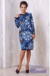 Платье 2165 мокрый асфальт/св.серый/гжель
