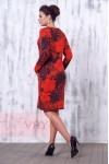 Платье 2181 кирпичный/красный мак/мокрый асфальт
