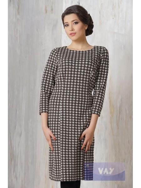 Платье 3244 кофейный-молоко лапка