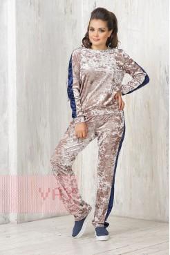 Спортивный костюм 3350 бежевый/т.синий