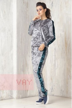 Спортивный костюм 3350 серый/малахит