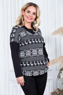 Блузка Зимняя Сказка (черный/мелкий узор)
