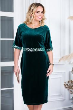 Платье Кокетка (зеленый/серебро)