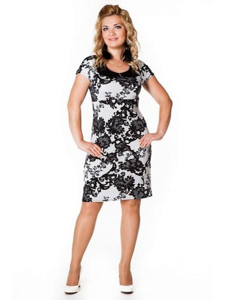 Платье Коктейльное (черно-белый)