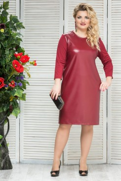 Платье Кожа (бордо)