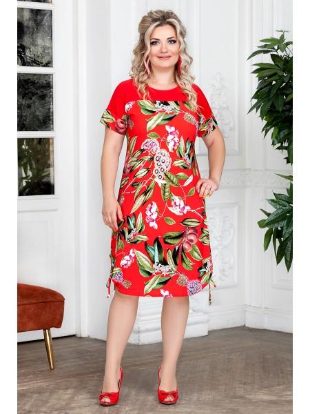 Платье Муза (красный/листья)