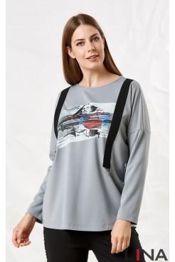 Блузка 41117 (серый)