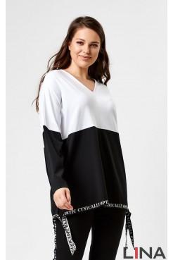 Блузка 41119 (белый/черный)