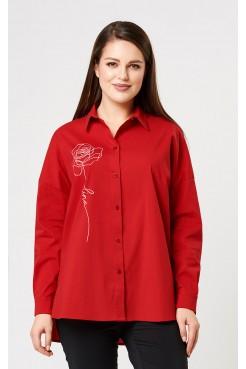 Блузка 4193 (красный/принт)