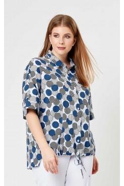 Блузка 4199 (белый/синий/принт)