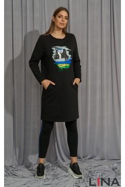 Платье 52191 (черный/принт)