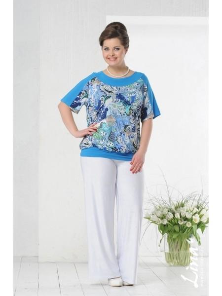 Блузка Марина (голубой темный)