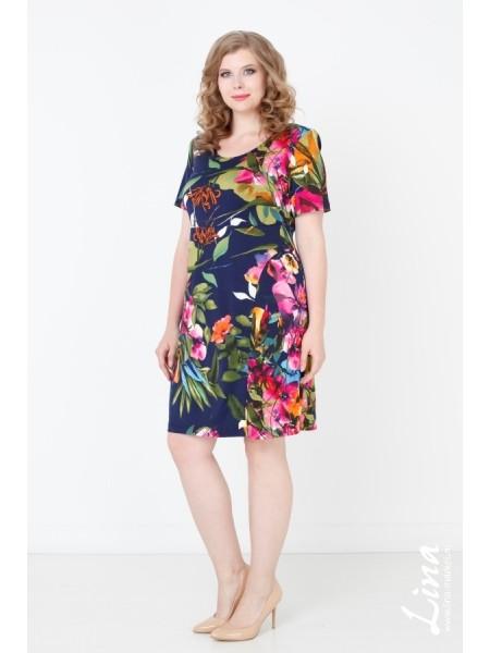 Платье Надежда (черный-цветы)