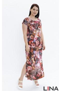 Платье Сандра (красный/розы)