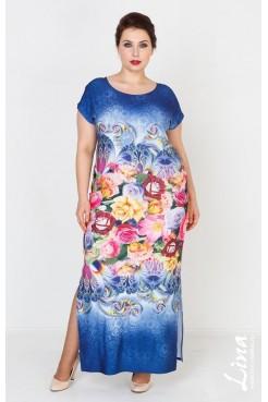Платье Сандра (синий-цветы)