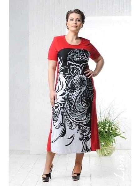 Платье Контраст (красный)